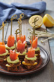 Canape with salmon Royalty Free Stock Photography