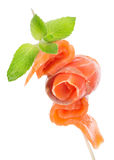 Canape with salmon. Isolated on a white background royalty free stock images
