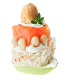Canape with salmon, toast, thyme twig and hazel Royalty Free Stock Photography