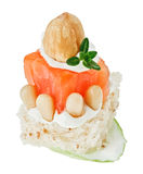Canape with salmon, toast, thyme twig, hazel Royalty Free Stock Photography