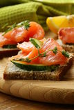 Canape sandwiches with salmon Royalty Free Stock Photos