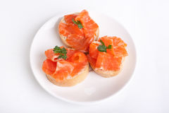 Canape Sandwiches with Salmon Royalty Free Stock Images