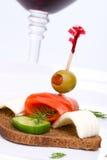 Canape saumoné de concombre Photographie stock