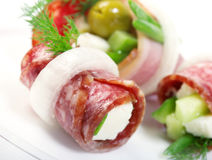 Canape sausage Royalty Free Stock Image