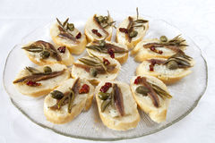Canape selection with fish fillets Royalty Free Stock Image