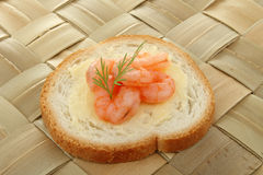 Canape of shrimp Stock Photo