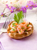 Canape with shrimp Royalty Free Stock Photos