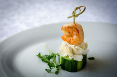 Canape with shrimp, cucumber and cream cheese Stock Photos