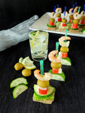 Canape on skewers Stock Image
