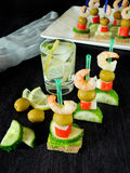 Canape on skewers Stock Photography