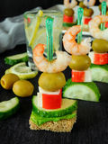 Canape on skewers Royalty Free Stock Photos