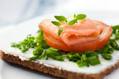Canape with smoked salmon royalty free stock photos