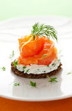 Canape with smoked salmon Stock Photos