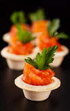 Canape with smoked salmon Stock Images