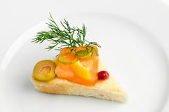 Canape with smoked salmon royalty free stock photo