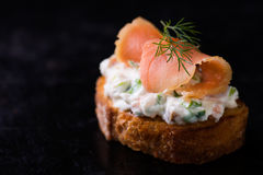 Canape with smoked salmon and cream cheese Royalty Free Stock Images