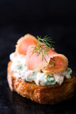 Canape with smoked salmon and cream cheese Stock Image