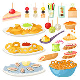 Canape snacks appetizer vector set. Royalty Free Stock Images