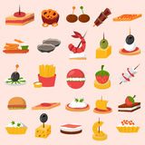 Canape snacks appetizer vector set. Various meat, fish and cheese banquet snacks on banquet platter. Canape snacks appetizer cheese cuisine buffet delicious Royalty Free Stock Photos