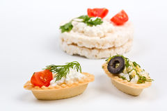 Canape snacks with cottage cheese Royalty Free Stock Photo