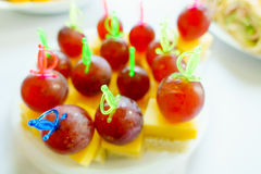 Canape on a table macro Royalty Free Stock Photos
