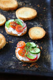 Canape with tomato and cucumber Royalty Free Stock Image