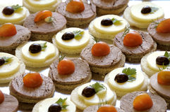 Canape on a tray. Allsorts canape on a tray Royalty Free Stock Images