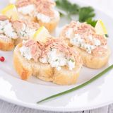 Canape with tuna and cheese Stock Photo