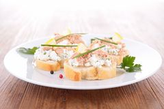 Canape with tuna and cheese Royalty Free Stock Photo