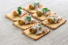 Canape with turkey paste Royalty Free Stock Images