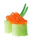 Canape vermelho do caviar com o galho do aipo e do rosemary Imagens de Stock