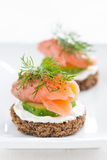 Canape With Cheese, Cucumber And Salmon, Close-up Royalty Free Stock Images