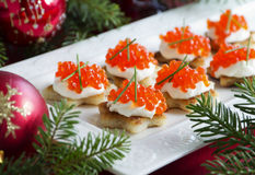 Canape With Red Caviar For Party, Stock Photo