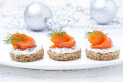 Canape With Rye Bread, Cream Cheese, Salmon For Christmas Royalty Free Stock Image