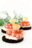 Canape With Shrimps Royalty Free Stock Images
