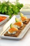 Canapes żyta chleb z ricotta serem i uwędzonym łososiem Obraz Royalty Free