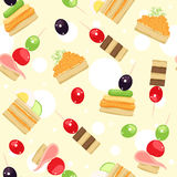 Canapes. Seamless pattern with different canapes Royalty Free Stock Image