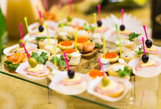Canapes and appetizers Royalty Free Stock Image