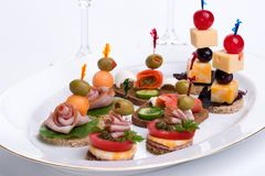 Canapes assortis Images stock