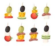 Canapes avec différents écrimages Nourriture de restaurant avec le bâton en bois Casse-croûte, apéritif pour des restaurants Illu illustration de vecteur