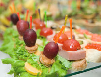 Canapes on banquet table Stock Images