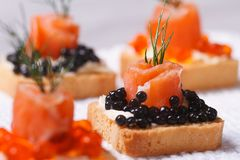 Canapes with black caviar and salmon macro Royalty Free Stock Photos
