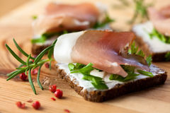 Canapes with Black Forest Ham Royalty Free Stock Image