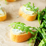 Canapes with blue cheese for breakfast Royalty Free Stock Photo