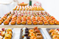 Canapes buffet. Large variety of fresh canapes for event Stock Photography