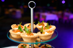 Canapes of caviar Royalty Free Stock Photography