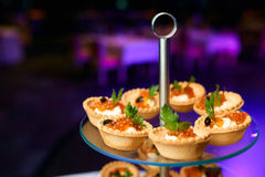 Canapes of caviar Stock Images