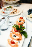 Canapes of caviar. On a table in a restaurant Stock Photography
