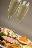 Canapes and champagne Stock Image