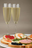 Canapes and champagne Royalty Free Stock Photos
